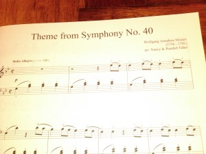Theme from Symphony No. 40 by Mozart. Arr by Nancy and Randall Faber